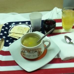 I had homemade food on a USA flag tray!